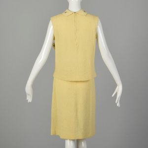 Medium 1960s Yellow Knit Outfit Sleeveless Top and Skirt Spring Ensemble - Fashionconstellate.com