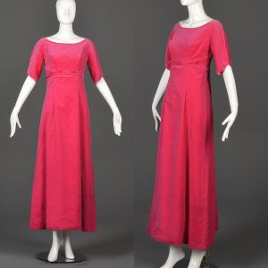 Small 1960s Pink Velvet Formal Maxi Dress Short Sleeve