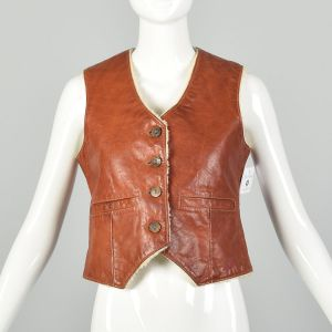 Small 1960s Distressed Leather Vest Boho Hippie