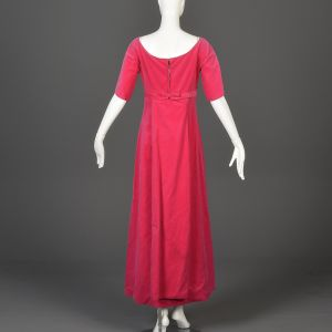Small 1960s Pink Velvet Formal Maxi Dress Short Sleeve  - Fashionconstellate.com