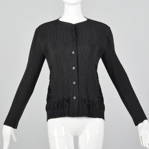 Medium 1990s Issey Miyake Cardigan Black Pleated Designer Faux Fur Lightweight Sweater
