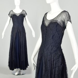 Small 1930s Dress Ball Gown Blue Lace As Is