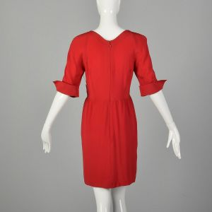 Small 1980s Red Silk Dress Logo Buttons French Cuffs Portrait Neckline  - Fashionconstellate.com