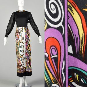 Small 1970s Maxi Dress Saul Villa Psychedelic Long Sleeve