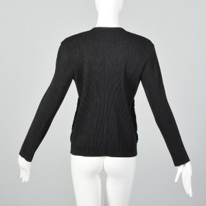 Medium 1990s Issey Miyake Cardigan Black Pleated Designer Faux Fur Lightweight Sweater - Fashionconstellate.com