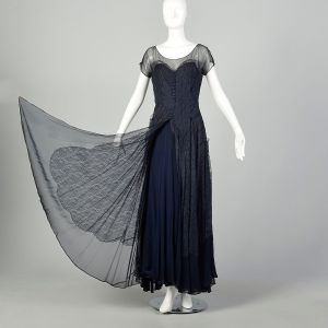 Small 1930s Dress Ball Gown Blue Lace As Is - Fashionconstellate.com
