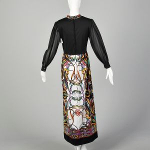 Small 1970s Maxi Dress Saul Villa Psychedelic Long Sleeve - Fashionconstellate.com