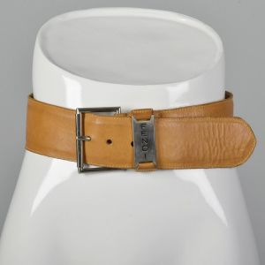 Small 1980s Fendi Wide Leather Belt Silver Buckle Light Brown