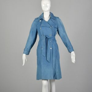 XS 1970s Boho Denim Trench Coat Double Breasted Autumn Outerwear