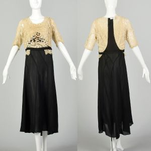 Small 1910s Edwardian Dress Davis Gown Hand-Finished Cream Lace Black Silk Crepe