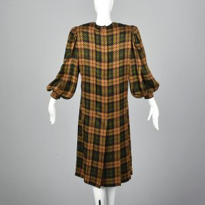 Large 1980s Galanos Gold Silk Dress Green Plaid Shift Bishop Sleeves - Fashionconstellate.com