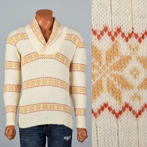 Medium-Large 1970s Mens Cream Sweater Alpine Yellow and Red Fair Isle Shawl Collar Pullover
