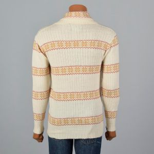 Medium-Large 1970s Mens Cream Sweater Alpine Yellow and Red Fair Isle Shawl Collar Pullover - Fashionconstellate.com
