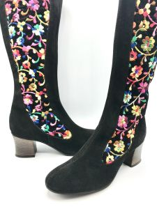 1970s Deadstock Boho Floral Embroidered Brown Suede Boots, Penny Lane Almost Famous US Size 7 1/2