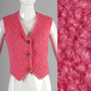 Medium Pink Vest 1960s Bubblegum Faux Fur Persian Lamb Boucle Waistcoat Gilet