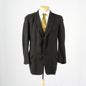 44R Large Mens 1950s Blazer Charcoal Gray and Brown Windowpane Plaid Wool Jacket Sportscoat