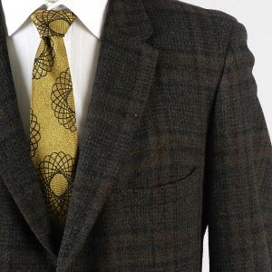 44R Large Mens 1950s Blazer Charcoal Gray and Brown Windowpane Plaid Wool Jacket Sportscoat - Fashionconstellate.com