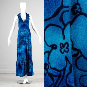 XS Blue Maxi Dress 1970s Black Floral Hawaiian Print Halter Neck Low Cut Back