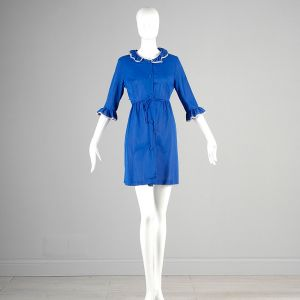 Small Royal Blue Robe 1960s Peter Pan Collar Lace Trim Short Lingerie Dressing Gown - Fashionconstellate.com