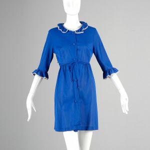 Small Royal Blue Robe 1960s Peter Pan Collar Lace Trim Short Lingerie Dressing Gown