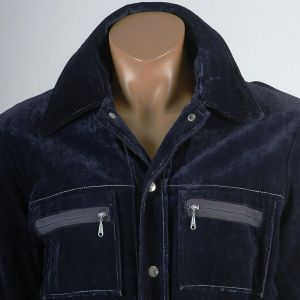 Medium Mens 1970s Jacket Navy Blue Velour Velveteen Snap Front Collared Long Sleeve - Fashionconstellate.com