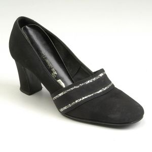SZ 6 Black Court Shoes 1960s Round Toe Chunky Heel Silver Glitter Heels Pump - Fashionconstellate.com