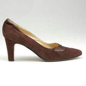 SZ 8 9 Brown High Heels 1970s Pumps Suede Leather Pleated Bow Shoes