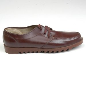 Size 8.5 1960s Deadstock Diamond Work Wear Brown Thick Heavy Rubber Tread Shoes Made In Japan