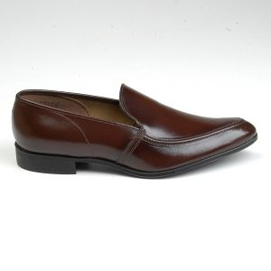 Size 8.5 1950s Deadstock Tru Flex Brown Leather Slip On Loafer Pointed Toe