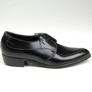Size 8 1960s Deadstock Welted Black Leather Slim Toe Pointed Derby Lace Up Shoes