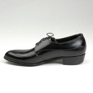 Size 8 1960s Deadstock Welted Black Leather Slim Toe Pointed Derby Lace Up Shoes - Fashionconstellate.com