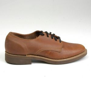 Size 6 1960s Deadstock Brown Leather Derby Oxford Lace Up Shoes Cork Crepe Sole