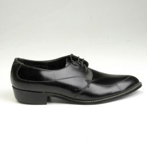 1960s Black Leather Oxford Welted Derby Shoes Lace Up Pointed Toe