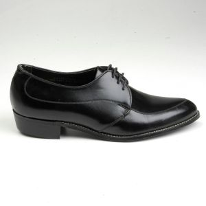 Size 8 1960s Tru Flex Black Leather Oxford Derby Shoes Lace Up Slim Pointed Toe