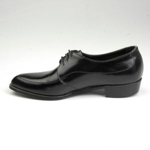 Size 8 1960s Tru Flex Black Leather Oxford Derby Shoes Lace Up Slim Pointed Toe - Fashionconstellate.com