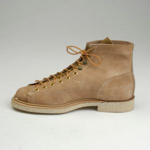 1960s Deadstock Biltrite Tan Leather Split Hide Work Boots Workwear Lace Up Ankle Cork - Fashionconstellate.com
