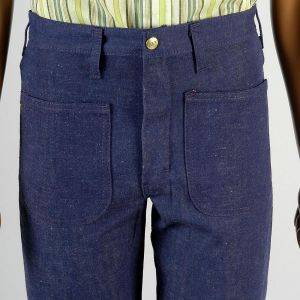 30 x 34 1970s Jeans Sanforized High Rise Indigo Dark Denim Bell Bottoms - Fashionconstellate.com