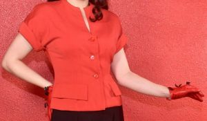 1950s Vogue Design Red Blouse  - Fashionconstellate.com