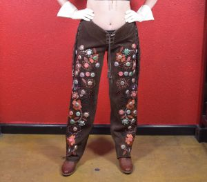 Vintage Double D Ranch Hand Embroidered Chaps with Bottlecaps
