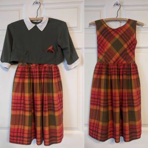 Vintage 60s Girls Sleeveless Plaid Dress and Button Back Top S