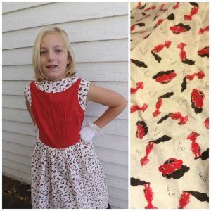 50s Girls Novelty Print Dress Cars Cotton Red White