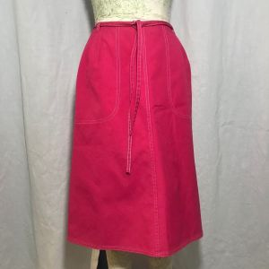 Vintage 70s Koret Koratron Pink Wrap Skirt Size 12 Pockets Union Made In The USA
