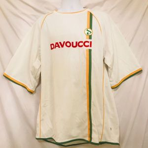Vtg 90s Davoucci Mens Spell Out Jersey Style Shirt 3X White Urban Hip Hop Street