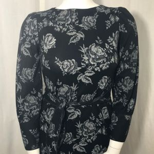1980s California Looks Black Gray Floral Dress Belted Stretch Size 10 - Fashionconstellate.com