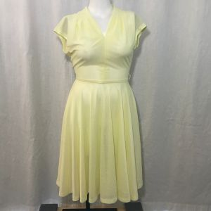 Vintage 70s Sheer Yellow Polyester Fit Flare Disco Dress Size M