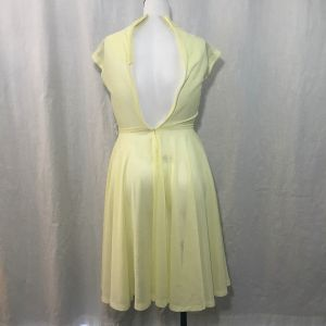 Vintage 70s Sheer Yellow Polyester Fit Flare Disco Dress Size M - Fashionconstellate.com