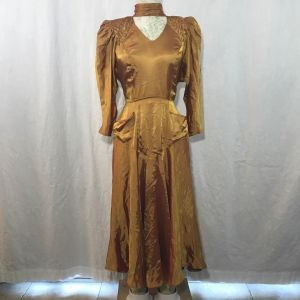Vintage 80s Contempo Casuals Gold Pink Shimmer Beaded Satin Midi Choker Dress Size S Pockets