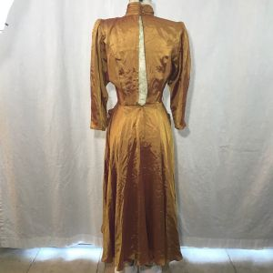 Vintage 80s Contempo Casuals Gold Pink Shimmer Beaded Satin Midi Choker Dress Size S Pockets - Fashionconstellate.com