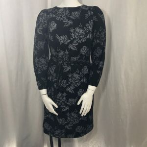 1980s California Looks Black Gray Floral Dress Belted Stretch Size 10