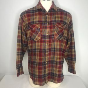 Vintage 70s Sears Mens Store Plaid Flannel Button Up Field Shirt Size L Beige Red Blue
